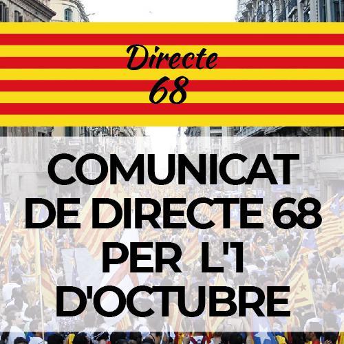 COMUNICAT DE DIRECTE 68 PER  L'1 D'OCTUBRE