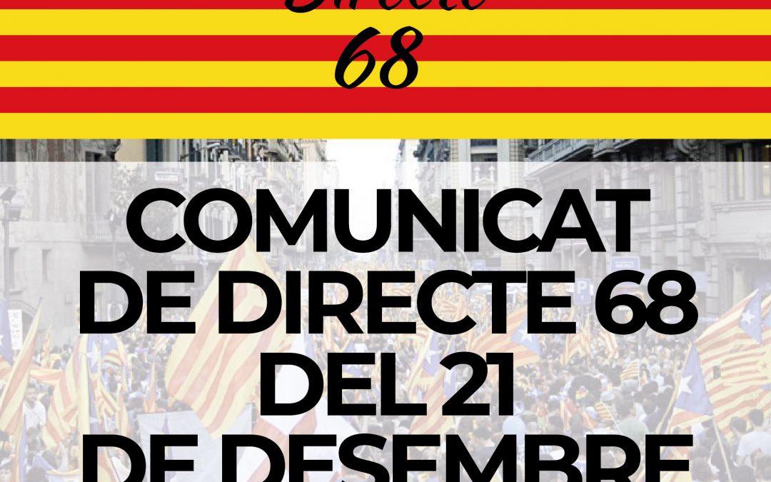 COMUNICAT DE DIRECTE 68 DEL 21D 2018