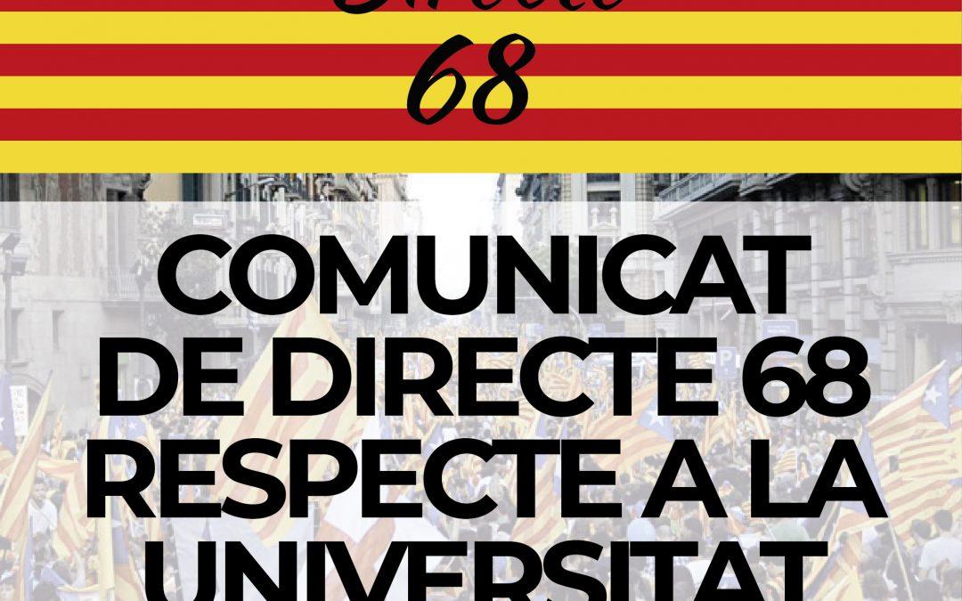 COMUNICAT DE DIRECTE 68 RESPECTE A LA UNIVERSITAT NOVA HISTÒRIA