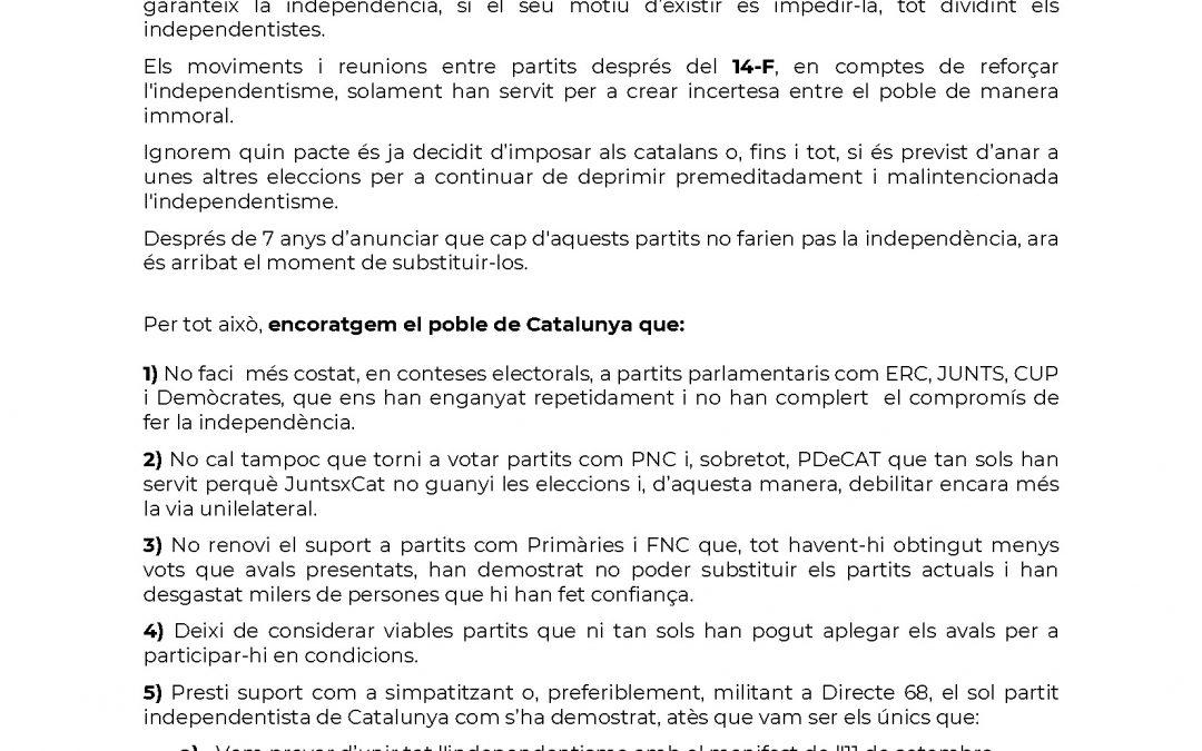 COMUNICAT DE DIRECTE 68 RELATIU AL 14-F I A LES SETMANES POSTERIORS